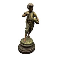 Auguste Moreau Original Cast Spelter Statue Of Boy Eating