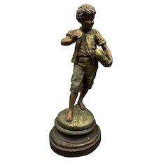 Auguste Moreau Original Cast Spelter Statue Of Boy Eating