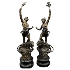 Antique French Spelter Pair Of Statues