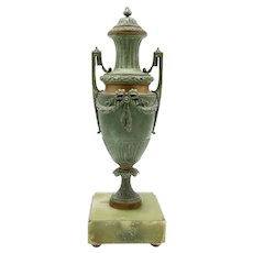 Art Nouveau French Spelter and Marble Urn