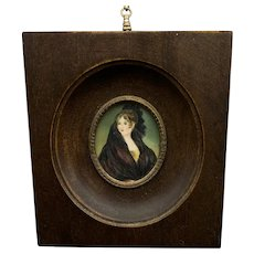 Victorian French Miniature Oil Portrait Of A Lady