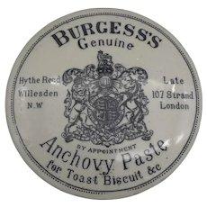 Antique British Burgess's Anchovy Paste Stoneware Jar