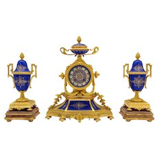 Antique Dore Bronze and Royal Blue Patinated Polychrome Porcelain French garniture clock set