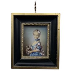 French Antique Jean-Baptiste Perronneau Girl with a Kitten Reproduction from the early 1900's Original was done in