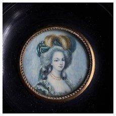 Antique French Miniature Portrait Of A Lady