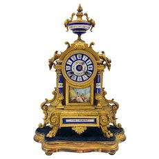 Antique French Brunfaut Richard et Cie Dore Bronze and Royal Blue Porcelain Clock w/stand c. 1880