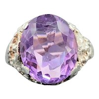 $475 c. 1979 English Sterling Silver and 4.53ct Amethyst Ring