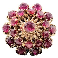 $3800 18k Yellow Gold Ruby Cluster Ring 2.72TCW