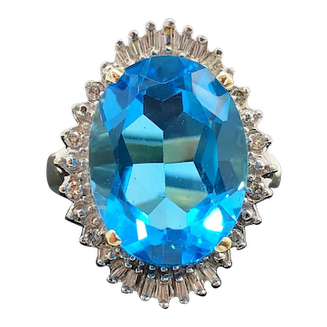 $3225 14k Yellow Gold Blue Topaz and Diamond Ring 11.12TCW