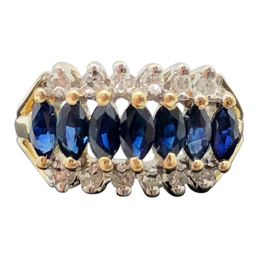 $1525 14k Yellow Gold Blue Sapphire and Diamond Ring 0.68TCW