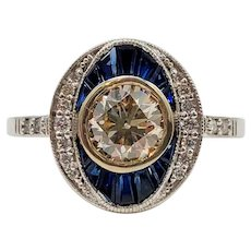$6500 Art Deco Style 14k WG GIA Diamond and Sapphire Engagement Ring