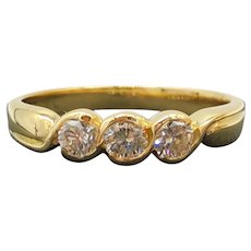 $2900 18k Yellow Gold and Diamond Trinity Ring 0.45TCW