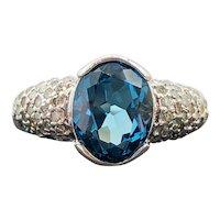 $3400 14k White Gold Topaz and Diamond Ring 4.05TCW