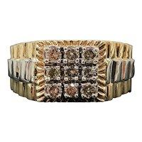 $2250 9k Yellow White Gold Gent's Rolex Style Diamond Ring 0.49TCW