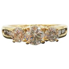 $6900 14k Yellow Gold Diamond Trinity Engagement Ring 1.57TCW