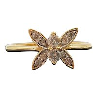 $1800 18k Yellow Gold Diamond Butterfly Ring 0.24TCW