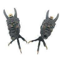 19th Century French Cast Bronze Satyr Talon Smoking Set