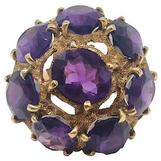 $5475 Heavy 14k Yellow Gold and Amethyst Cocktail Ring. 18.59TCW