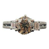 $15800 14k GIA Fancy Yellow-Brown Diamond Engagement Ring 2.08TCW