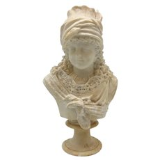 Antique European Carved Alabaster Bust of a Young Female