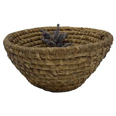 Antique Primitive French Woven Rye Market Display Basket