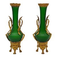 Pair of Gilt Bronze Mounted Bohemian Green Glass Vases