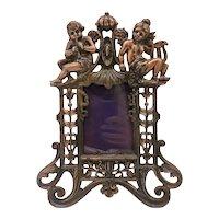 Art Nouveau Gilt Cast Iron Cherub Picture Frame
