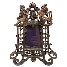 Art Nouveau Gilt Cast Iron Cherub Picture Frame
