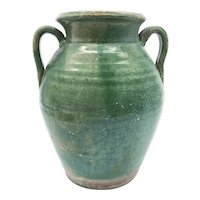 French Antique Green Glazed Tornac Jar From Languedoc Region