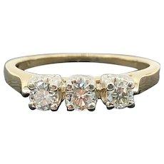 $1800 14k Yellow Gold Diamond Trinity Ring 0.39TCW