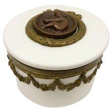 Antique Geschutzt Porcelain and Gilt Metal Keepsake Box