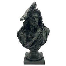 A Large Bronze Bust of Rembrandt after Albert Ernest Carrier-Belleuse
