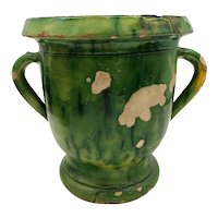 A Green Glazed Twin Handled Campana Form Jardiniere from Castelnaudary