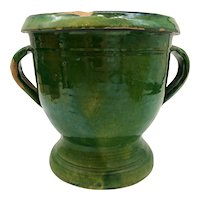 French Antique Green Glazed Twin Handled Campana Form Jardiniere
