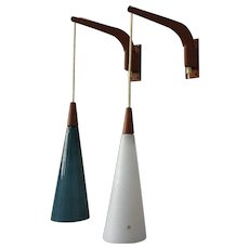 Pair of MCM 1950s Teak Made in Sweden Wall Lamps. Uno and Osten Kristiansson for Luxus
