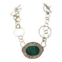 Hand Hammered Sterling Silver Looped Circle Necklace with Azurite-Malachite Stone