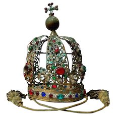 Antique 19th Century Large French Religious Processional Crown