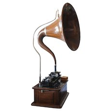 Antique Edison Triumph Model E Phonograph w/ Oak Cynget Music Master Horn