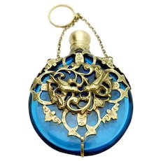 French Chatelaine Scent Perfume Bottle Blue Art Glass w Bronze Metal Lovebird Filigree c 1860