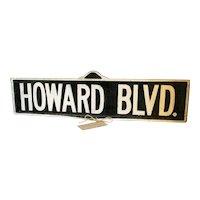 Vintage Howard Blvd. Aluminum Street Sign. Lake Shore Markers.