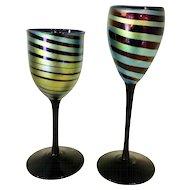 Steven Maslach Art Glass Wine Glasses Signed 1978 Early Works