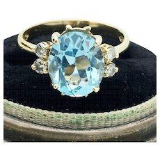 14k Yellow Gold Estate Blue Topaz and Diamond Ring