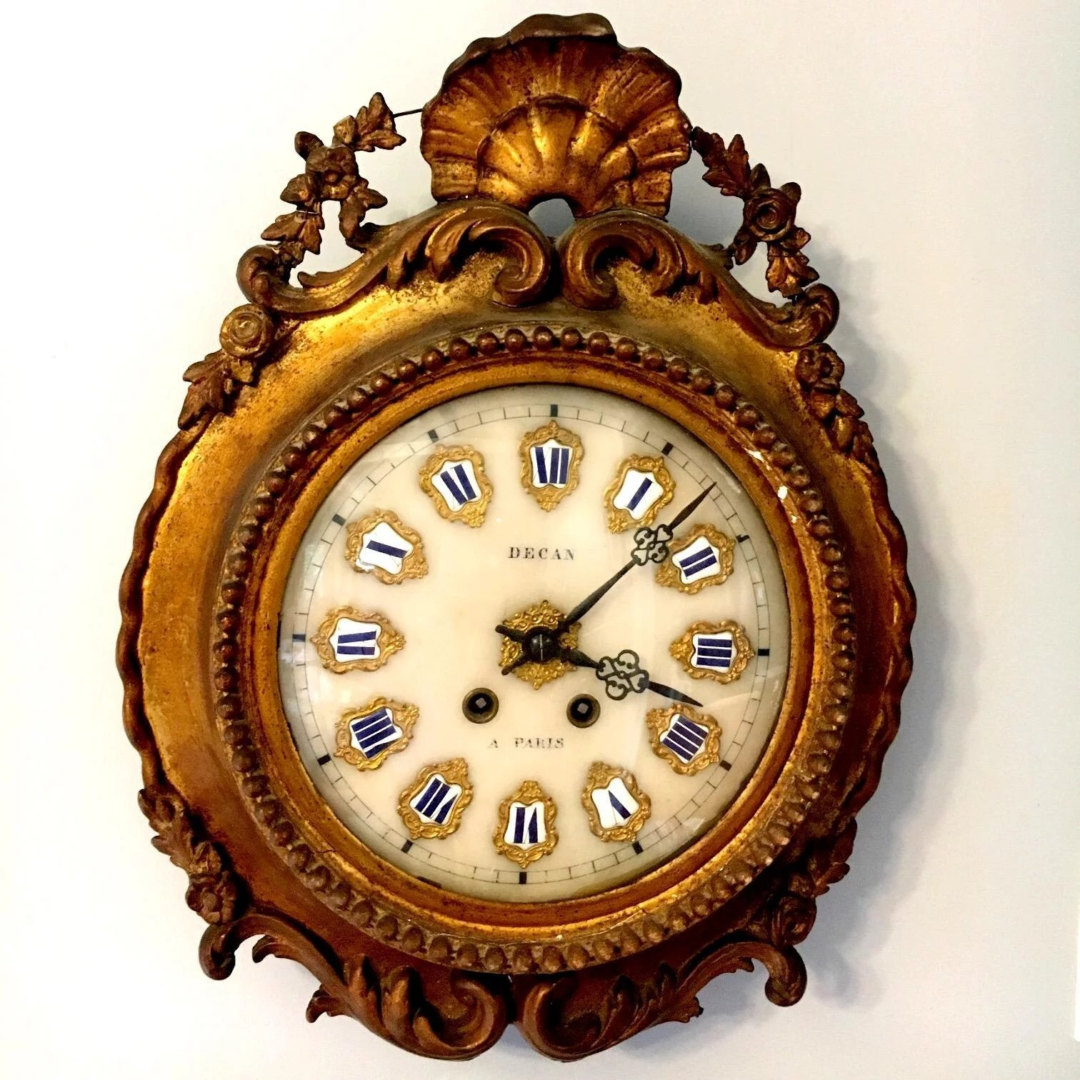 French Art Nouveau Eight Day Time and Strike Morbier Wall Clock ...