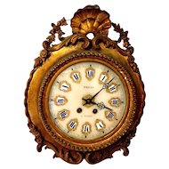 French Art Nouveau Eight Day Time and Strike Morbier Wall Clock