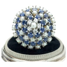 14k White Gold Estate Blue Sapphire, Pearl and Diamond Cocktail Ring