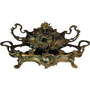 Antique Art Nouveau French Metal Jardiniere and Tray Set