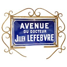 French Convex Enamel Street Sign w/ metal scrollwork