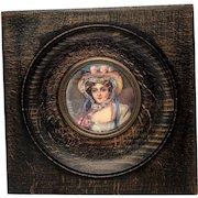 Antique French Portrait Miniature Painting, Artist Signed