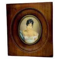 Antique French Portrait Miniature, Madame Recamier