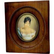 Antique French Portrait Miniature, Madame Recamier